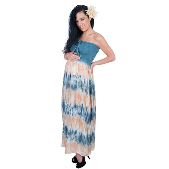 a715e9939e Tie Dye Maxi Dress Smocked Halter Tube Top